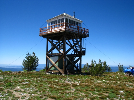 The fire tower on the summit of Granite Mountain.